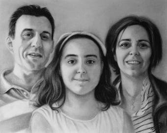 Family portrait, birthday gift, custom portrait, charcoal portrait, charcoal drawing, handmade gift, anniversary gift, realistic drawing
