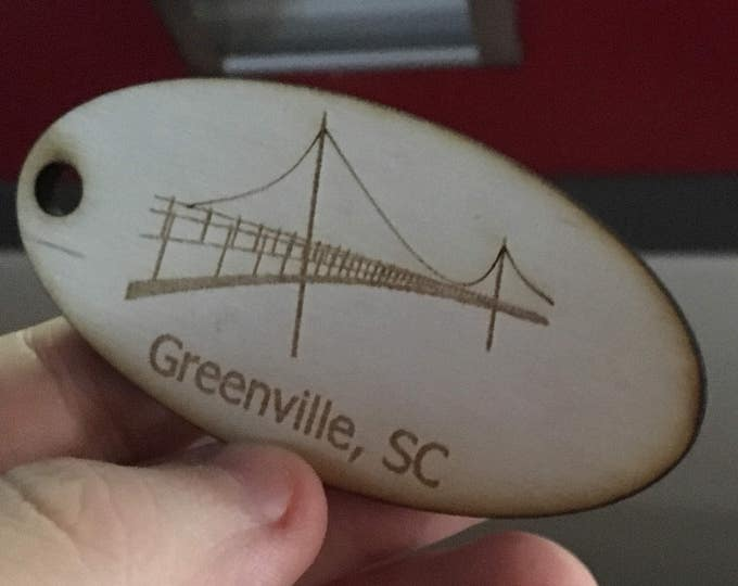 Laser Engraved Greenville Keychain Tag