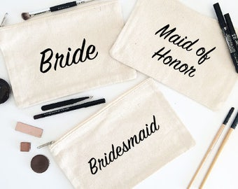 Canvas Cosmetic Bag: Bride/Maid of Honor/Bridesmaid/Mother of the Bride/Flower Girl/Junior Bridesmaid - Makeup Bag