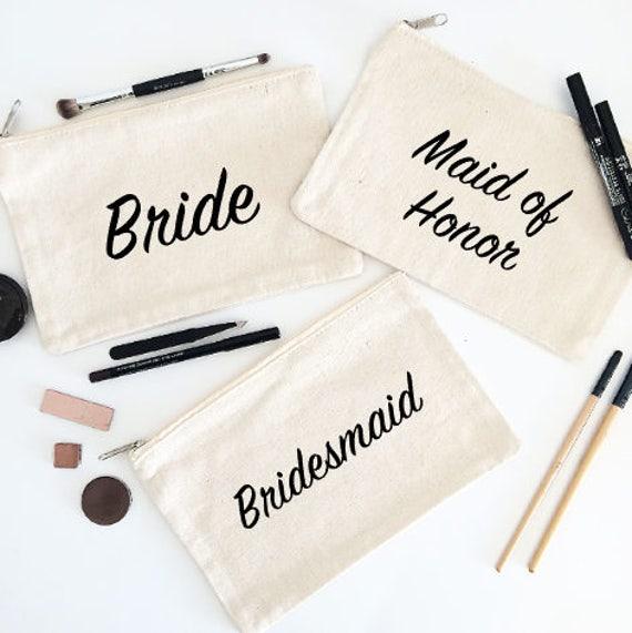 Canvas Cosmetic Bag: Bride/Maid of Honor/Bridesmaid/Mother of the Bride/Flower Girl/Junior Bridesmaid - Makeup Bag