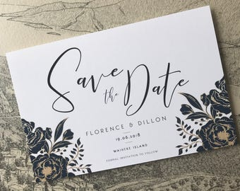 Save the Date Invitation , Navy and Gold Floral Save the Date Invite  , Save the Date , DIY Printable Invitation , Modern Save the Date