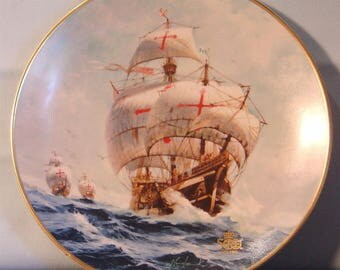 "Columbus Discovers America - 500th Anniversary ""Under Full Sail"" Collector's Plate - NIB"