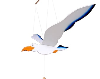 Wooden Flying Seagull Toy Hanging Handmade Hand painted Gift kids Decor Mobile