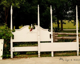 antique white shabby chic chalk painted queen sized four poster bed frame queen - Antique Queen Bed Frame