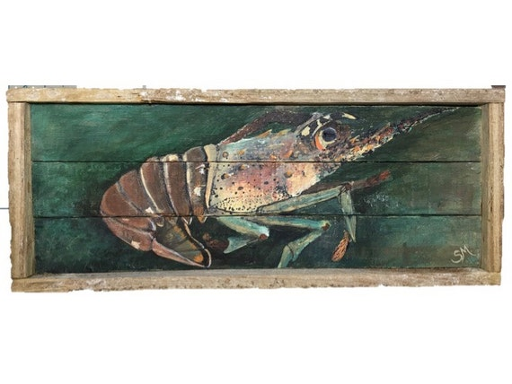 Dive In Mini Season With This Spiny Lobster Painting Acrylic On Retired Lobster Trap Wood
