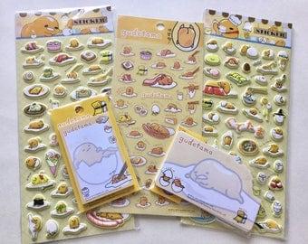 Kawaii Pack Gudetama 5 pcs, stickers, kawaii, notes, sticky notes