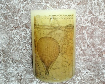 Vintage looking handmade decoupage candle, vanilla scented, hot air balloon pattern, the perfect gift, home & living