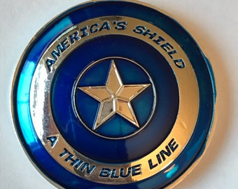 Captain America Shield Police A Thin Blue Line Blue Lives Matter Challenge Coin