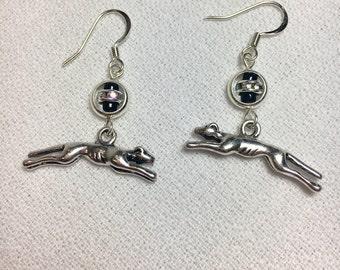 Greyhound Earrings with Rhinestones