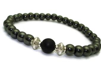Mens beaded bracelet bead bracelet men jewerly black shungite bracelet for him brother bracelet gifts for boyfriend long distance birthday