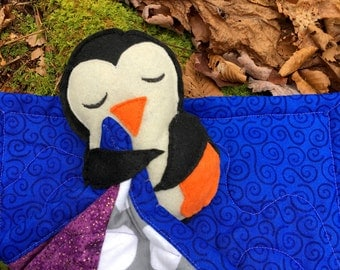 Baby Penguin Blankey, Quilted Penguin Lovey, Baby Penguin Lovey, Felt Penguin Toy