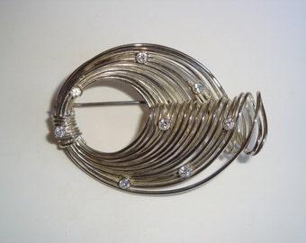 Vintage Silver Tone and Clear Rhinestone Swirl Brooch