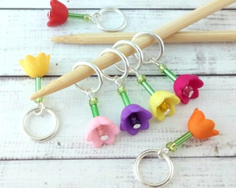 tulip flower stitch markers - knitting or crochet progress markers place holders