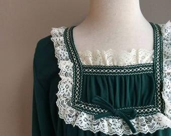 1970s Green Union Made Velvet Gown / 70s Evergreen Full Length Dress / 1970's Bohemian Lounge 70's True Vintage Pinup Boho Unique Gift Ideas
