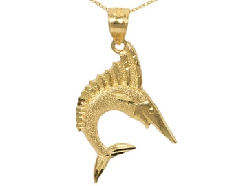 14k Yellow Gold Marlin Necklace
