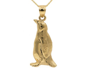 14k Yellow Gold Penguin Necklace