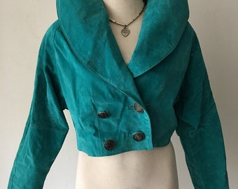 Blue women's short jacket, made from real suede, really soft suede, beautiful jacket for ladies, vintage style, size-medium.