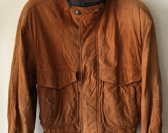 Handmade Short Vintage Orange Soft Genuine Suede Jacket Men's Size Large.