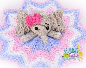 Elephant lovey/ Crochet Elephant lovey blanket / Baby shower gift /Lovey blanket / Security blanket /Elephant blanket / Snuggle blankey