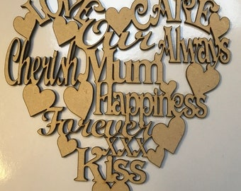 Mum mdf heart with meaningful words 150mm
