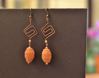 Geometric earrings earrings-drop earrings-copper wire-beads terracotta-Greek cross earrings-Artistic Wire-copper-Terracotta