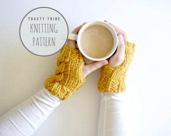 Knitting Pattern / Cable Knit Handwarmers Fingerless Gloves || THE LILLY MITTS