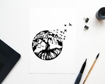 나무 (Tree) // 14x14in Digital Illustration [DIGITAL DOWNLOAD]
