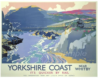 Vintage Yorkshire Coast LNER Railway Poster Print