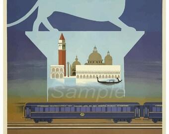 Vintage Venice Orient Express Railway Poster Print