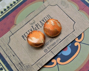 The Riser - Shimmer Gold Tangerine Button Earrings - Nickel Size Only