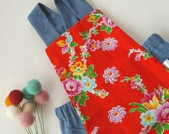 Baby Girls Romper 6-9 months, Rompers, Vintage Girls Clothing, Summer Romper, Floral Fabric, Vintage Style Romper