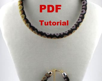 "Bead Crochet rope pattern necklace and bracelet ""Rendezvous"" Instant Download"