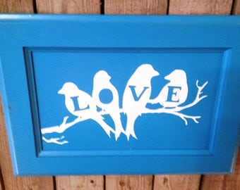Three Love Birds Wood Sign