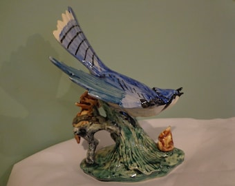 Large Stangl Blue Jay Bird #3716 1940's Hard To Find