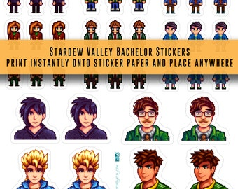 Stardew Valley, stickers, Bachelors, video game stickers, Character Stickers