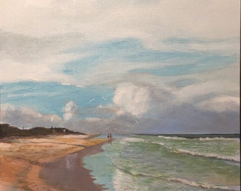 "BEACH AT FLAGLER, 11"" x 14"", acrylic, seascape, painting, on canvas panel"