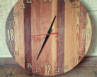 Handmade, reclaimed wood 24 hour clock