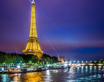 Paris, France. Evening view of the Eiffel tower, home decor. High quality photo print