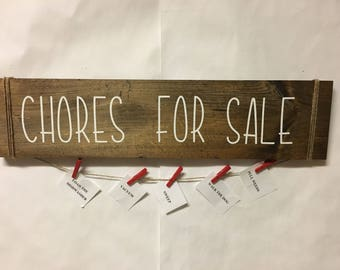 Chores For Sale Sign