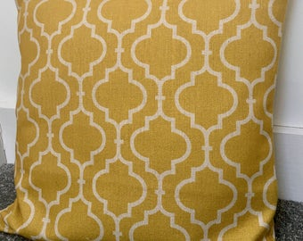 """Mustard yellow moroccan geometric cushion cover 18"""" cotton linen double-sided"""