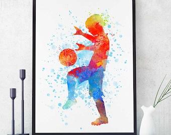 Soccer Boy Print, Sports Decor, Soccer Team Gift, Soccer Mom, Watercolor Print, Birthday Gift, Boy Room Wall Art  (N009)