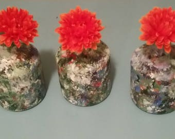 Hand painted vases (set of 3)