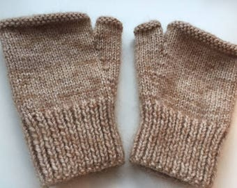Snuggly, fluffy, hazy, hand knitted fingerless mitts - size S/M