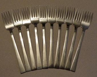 Swendia Stainless Flatware 10 vintage Salad Forks Unknown Mfg plain modern design