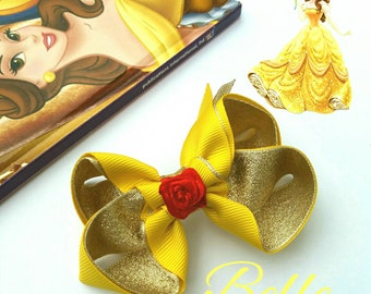Belle inspired boutique hair bow, baby headband, Beauty and the Beast,princess, disney, yellow, gold, red, fancy dress, gift,uk seller