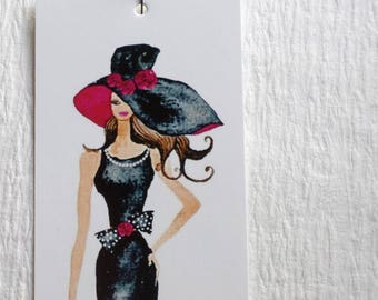 100 PRICE TAGS HANG Tags Retail Tags Boutique Tags Cute Model With Black Hat Merchandise Tags Clothing Tags With 100 Plastic Loops