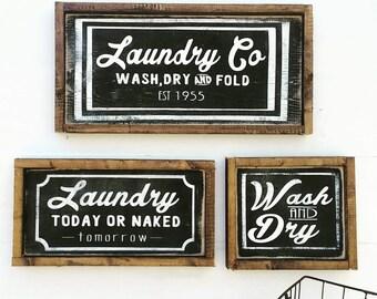 Farmhouse Laundry Decor | Laundry Sign | Laundry Room Decor | Laundry Room Sign | Wash Dry Fold | Laundry Today | Naked Tomorrow