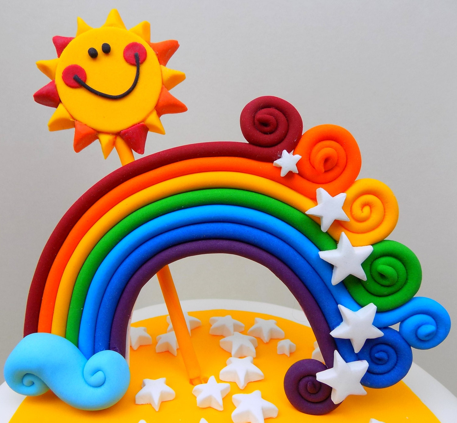 Cake Toppers Uk Next Day Delivery : Personalised RAINBOW and SUN cake topper edible handmade ...