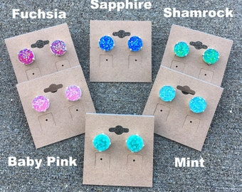 DRUZY STUDS 12mm Druzy stud earrings come in a variety of colors and finishes - faux druzy studs