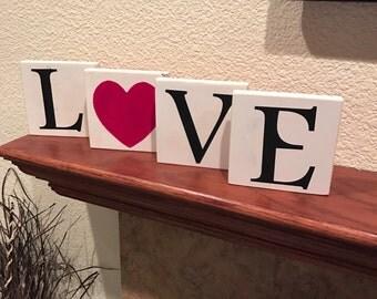 LOVE Blocks, LOVE Valentine's Day Decor, Rustic Valentine's Day Decor, Shabby Chic Valentine's Day Decor, Valentines Day Sign, Valentines